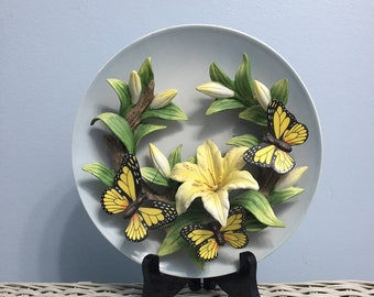 Seymour Mann Connoisseur Collection Lilly and Butterfly Collector Plate