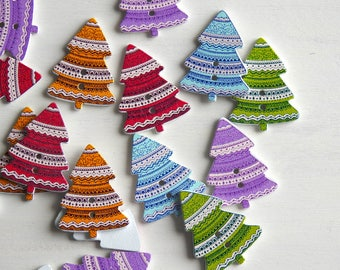 Wooden Button Christmas Tree,mixed colours - 10 pcs