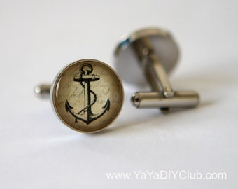 Vintage Anchor Cufflinks Nautical Anchor Cuff Links Custom - gift for him, birthday gift, unique gift for men