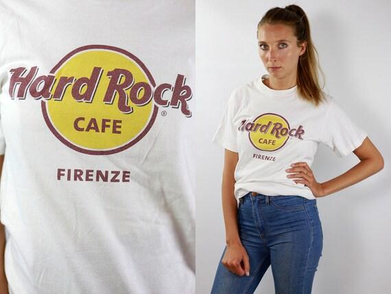 Hard Rock Cafe T-Shirt Hard Rock Cafe Shirt White T-Shirt Hard Rock Cafe Firenze Vintage Hard Rock T-Shirt White Firenze T-Shirt White 90s