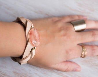 Pink Quartz Bracelet, Leather Braided Bracelet, Cuff Bracelet, Crystal, Gemstone bracelet, Bohemian Jewelry