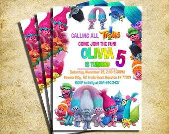 Trolls Invitation - Trolls Movie  Birthday Party Invite - Troll - Troll Invitation - Printable And Digital File