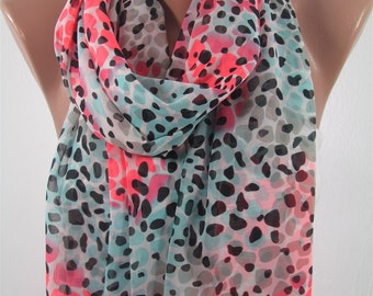 Mothers Day Gift For Her Leopard Scarf Shawl  Autumn Winter   Scarf Infinity Scarf  Fashion Accessories Gift For Mom Holiday clothing gift
