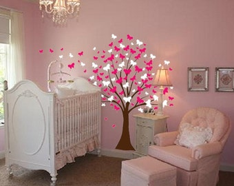 Large Wall Tree Baby Nursery Decal Butterfly Cherry Blossom 1139 (8 foot tall)