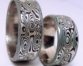 Mokume Gane Wedding Rings Mokume Gane Band Custom Metalsmith Unique Rings Woodgrain Pattern Two Color Rings Mokume Texture