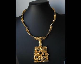 1970s Robert Larin  bib necklace gold plated pewter Brutalist Modernist Sculptural * Free shipping