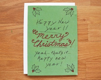 Funny christmas cards, unique holiday cards, funny new years card, belated christmas card, holiday card set, funny holiday cards