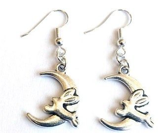 Rabbit Earrings - Moon Earrings - Hare on Moon Earrings - gazing hare - moon and hare earrings