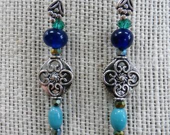 Renaissance Beaded drop silver Pierced earrings
