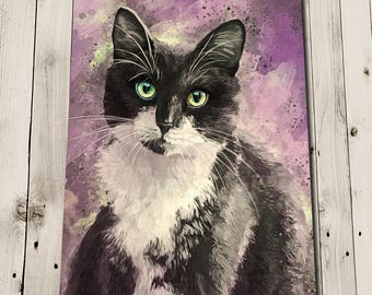 Black and White Cat Print - Black and White Cat Art Print - Tuxedo Cat Painting - Tuxedo Cat Art - Cat Print - Cat Wall Art - Cat Lover Gift