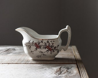 Antique Transfer Ware, Henry Alcock & Co., Semi Porcelain Hawthorn Gravy Boat, Vintage Gravy Boat, Antique Table Ware