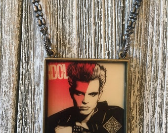 Billy Idol Necklace Rock Album Cover Art Jewelry Music lover Gift for Him or Her Rocker Chic Idol Fan  Rock Star Necklace
