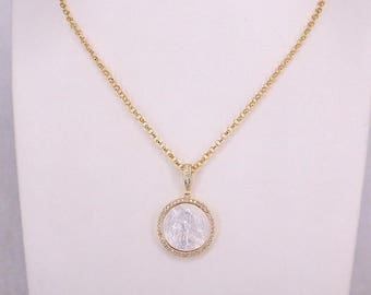 Mother of pearl Shell Pendants Necklaces Jewelry Women Gold Color Chain Necklace