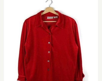 ON SALE Vintage Vivid Red  Velour Long sleeve Slouchy Blouse from 90's*
