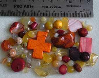 Destash - Semi-Precious Stone Lot - variety - yellows, oranges, reds - beads SP958