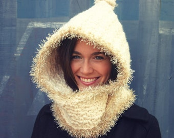 Crochet Pattern - Eskimo Kisses Hooded Cowl
