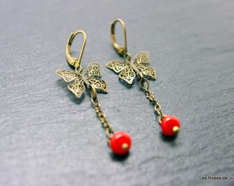 Earrings art deco butterfly, butterfly earrings