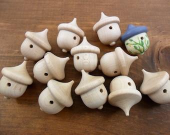 "Acorn Birdhouses 1 3/8"" x 1"" Wood Acorns 25 Pieces"