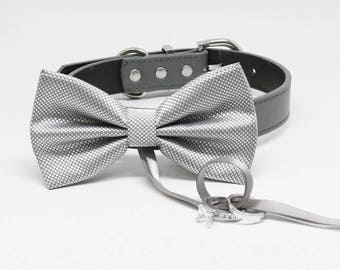 Silver Dog Bow Tie ring bearer, Pet Wedding, Silver bow attached to dog collar