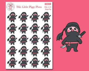 Ninja Pig - Planner Stickers - Ninja Planner Stickers - Warrior - Japanese Martial Arts - Kick Butt - Don't Mess With Me - [Misc. 2-21]