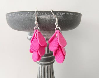 Clusters of neon pink MINI textured polymer clay earrings
