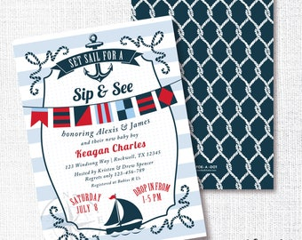 Nautical Boy Baby Shower Invitation, Printable, Nautical Flag Invite, Sail boat, Navy, Red, Sip And See, Sprinkle, Sailboat, Anchor