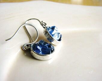 Blue Glass Earrings, Glass Chip Earrings, Faux Drusy Earrings, Minimalist Earrings, Faux Stone Earrings, Geology