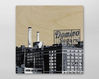 Dominos Sugar Factory City Block Wood Print