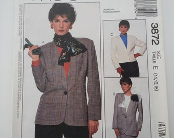 80s blazer / Jacket / womens/ suit/ pockets/ collar jacket vintage patterns /1988 sewing pattern, Size 14 16 18, Bust 36 38 40, McCalls 3872