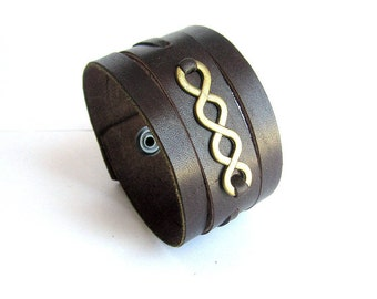 Double infinity leather cuff bracelet mens brown leather bracelet bronze infinity