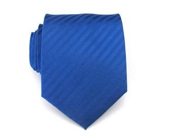 Mens Tie - Royal Blue Tone on Tone Striped Necktie