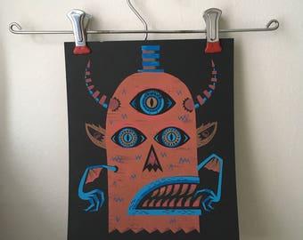 Print | Monster Screen Print | Glitter Screenprint | Hand Printed
