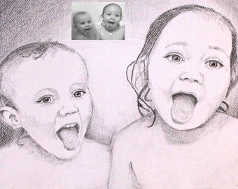 custom portrait, for two, drawing black and white
