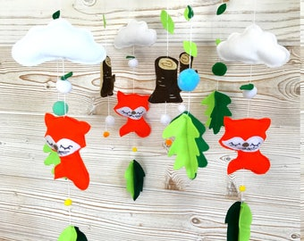 mobile baby, mobile fox, mobile forest, mobile cloud and leaves, cradle suspension, baby room decor, mobile baby