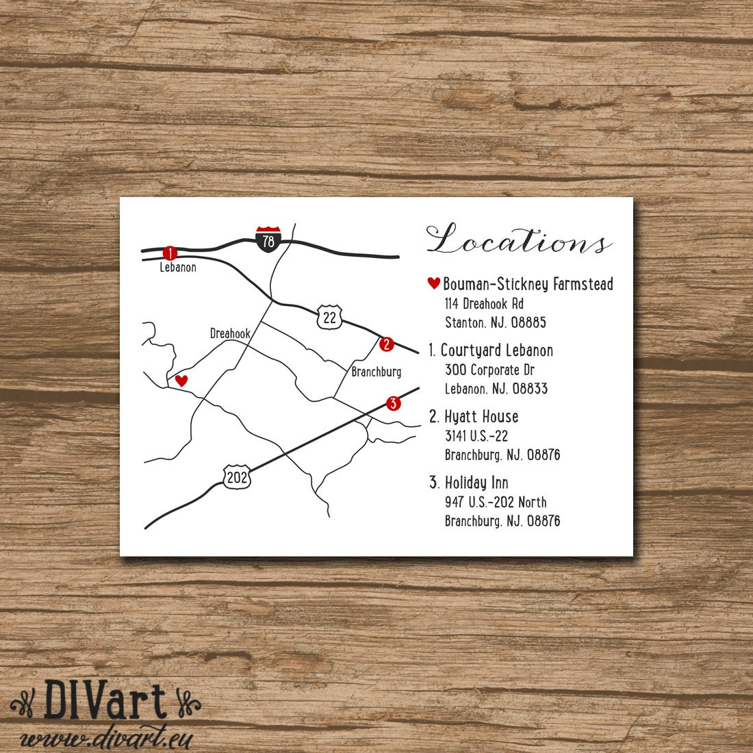Custom Wedding Map Event Map Directions Locations