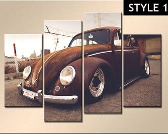 Volkswagen VW Beetle 4 Panel Canvas