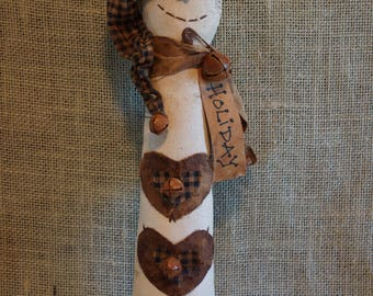 Primitive Rustic Grungy Shabby Chic Snowman Folk Art Holiday Christmas Collector Doll