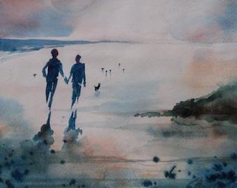 "Watercolor Painting - ""Surf Walk"""
