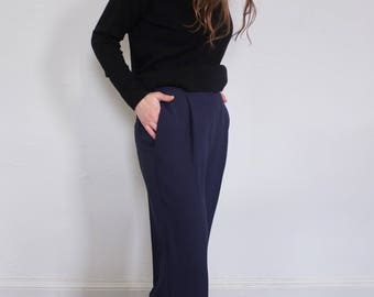 Navy Blue High Waisted Zip Front Cropped Pants, Size 6P