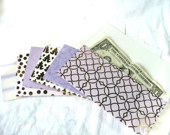 Cash Envelope System Set, Set of 6 Assorted Pattern Envelopes, Includes 6 Bill Tracker Cash Log Sheets, Hand Stitched, Front Closure