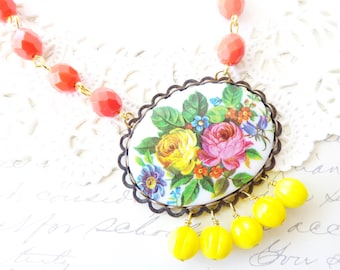 Vintage Floral Beaded Cameo Necklace - Large Flower Limoges Beaded Necklace = Vintage Beaded Necklace - Long Dangle Necklace