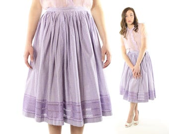 Vintage 50s Full Skirt Purple White Gingham Checked Gathered Circle 1950s Small S Rockabilly Pinup
