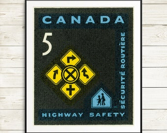 highway safety poster, driver safety posters, safe driving posters, canada stamp art posters, driver education posters, new canadian drivers