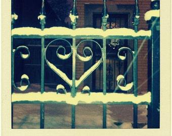 heart photo, Chicago Photo, snow, winter, gate, ironwork, scrollwork, patina, Chicago Photography, Chicago Art, architecture, polaroid style