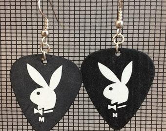 Guitar Pick Earrings / Playboy bunny