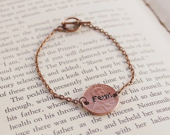 Personalized Penny Bracelet, Handstamped Bracelet, Custom Jewelry, Lucky Us, Wedding Gift, Anniversary Gift, Girlfriend Gift, Wife Gift, Her