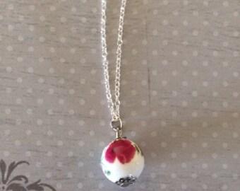Ceramic Necklace - Ceramic Jewelry - Ceramic Pendant - Ball Necklace - Flower Necklace - Flower Jewelry - Flower Charm Necklace - Neckalce