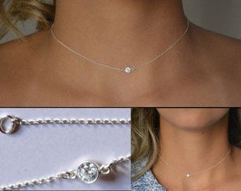 Handmade 925 Sterling Silver Choker Necklace w/ Single Stone