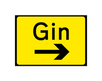 GIN Road SIGN - Personalised  gift Print