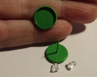 pair of green stem earrings to stick a cabochon 12mm